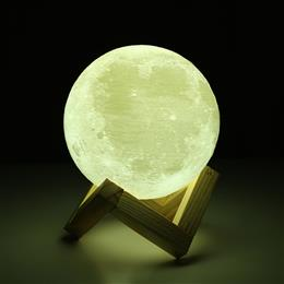Rechargeable 3D Print Moon Lamp Bedroom Bookcase Night Light Home Decor Creative Gift